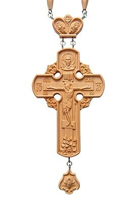 Russian Orthodox Priest Pectoral Cross Award Carved Wooden Crucifix 3