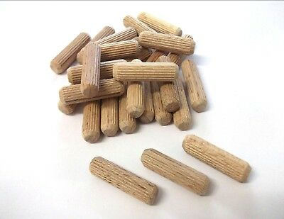 M10 X 40Mm Wooden Dowels Hardwood Fluted Grooved You Choose Quantity