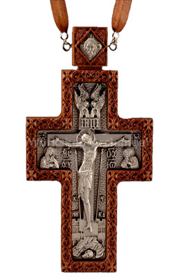 Carved Wooden Crucifix Russian Orthodox carved Pectoral cross award Priest