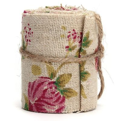 3M Craft Jute Burlap Hessian Ribbon Floral Print Fabric Vintage Wedding Trimming