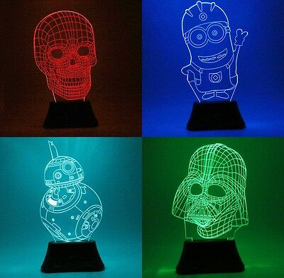 Bedroom 3D Illusion Bulbing Night 7 Color Change Decor Table Desk Lamp LED Light