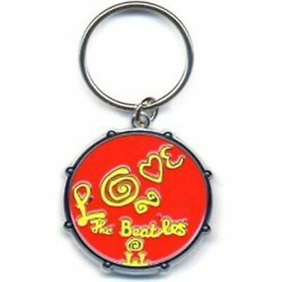 The Beatles Drum Love Red Yellow Logo Metal Detailed Keychain Keyring Official