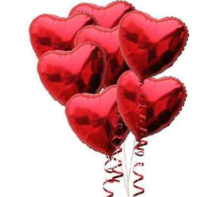 10 Red Heart Foil Helium Balloons Valentines Day Wedding Party Engagement Decor