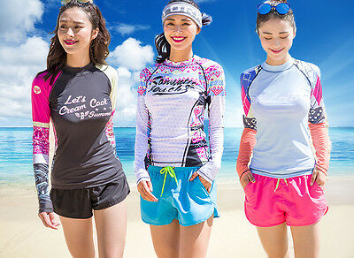 New Ladies Long Sleeve Sun Shirt UV Surf Swim Top Rash guard Lycra Swimwear Top