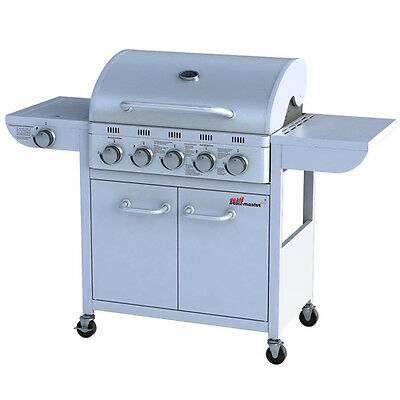 BBQ Gas Grill Barbecue Stainless Steel Portable Outdoor 5 Burner +1 Side Silver