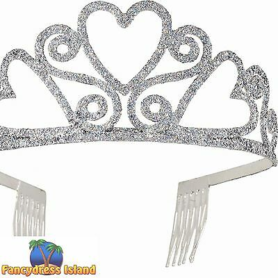 SPARKLY GLITTER HEART SHAPED PRINCESS FAIRYTALE TIARA - fancy dress accessory