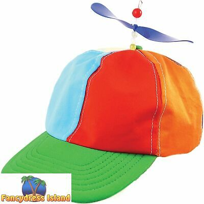 HELICOPTER FUNNY FUNKY RAINBOW CIRCUS CLOWN HAT CAP - fancy dress accessory