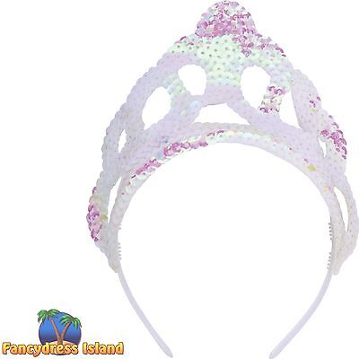 TIARA PEARLESCENT PRINCESS FAIRY TALE CROWN SEQUIN TIARA - fancy dress accessory
