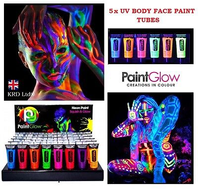 5 x UV Paint Glow Neon Fluorescent Face & Body Paint 5x 10ml SET Halloween Party