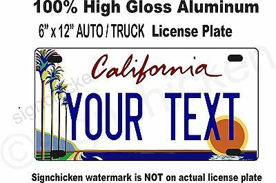 """California Custom Personalized State License Plate  6"""" x 12"""" any text - AUTO"""