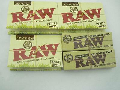 (3)Packs Raw 1 1/2 Size Natural Unbleached  Rolling Papers W/2 Packs Tips