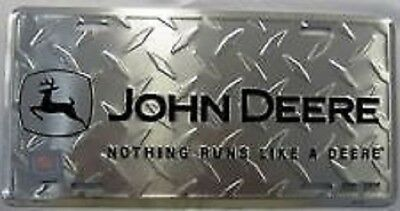 John Deere Diamond Plate Nothing Runs Like Embossed Metal License Plate 8a6dd4245a1