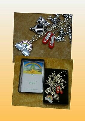 Wizard of Oz Inspired Key Charm Gift Keepsake Boxed Red Shoes Rainbow Castle