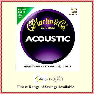 Martin M-170 80/20 Bronze Extra Light Acoustic Guitar Strings    .010 - .047