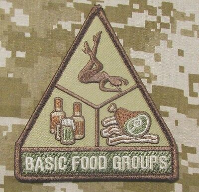 Basic Food Groups Usa Army Morale Badge Multicam Hook Patch
