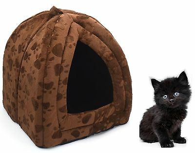 Dog Cat Warm Fleece Winter Bed Igloo House Soft Luxury Basket For Pets Brown
