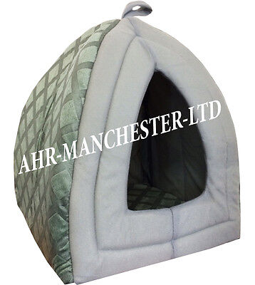 Dog Cat Warm Fleece Winter Bed Igloo House Soft Luxury Basket For Pets Grey