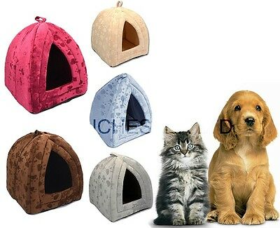 Dog Cat Warm Fleece Winter Bed Igloo Animal House Soft Luxury Basket For Pets