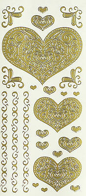 FILIGREE HEARTS PEEL OFF STICKERS Corners Border Swirls Love Wedding Engagement