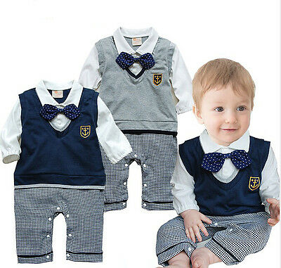 Baby Boys Gentleman Romper Bowknot Outfit Clothes Ropa de Bebe