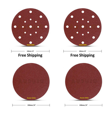 "150mm / 6"" 40 - 1000 Grit Pack 5 15 35 70 Round Sanding Discs Disc Hook Loop"
