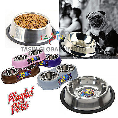 Stainless Steel Pet Bowl Dog Cat Puppy Non Slip Food Water Feeding Dish Pet Care