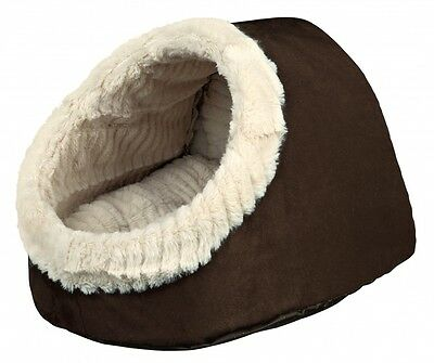 Timur Cat OR Small Dog Igloo Cave Bed | Suede Look | Brown Beige