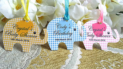 Personalised Baby Shower Tags Christening Birthday Party Elephant Shape