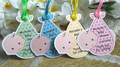 Personalised Baby Shower Tags Christening Party Rock-a-bye baby Labels