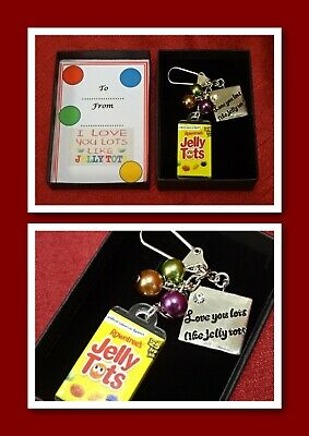 LOVE YOU LOTS LIKE JELLY TOTS keepsake key charm gift boxed beads any occasion