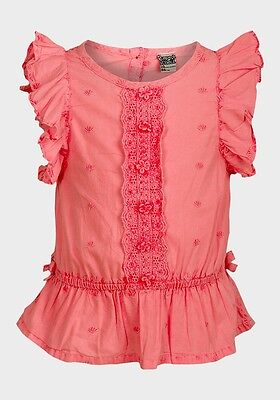 Bnwt Baby Girls Neon Pink Cotton Top By Tape A L'oeil Faded Effect Ages 3 - 23 M