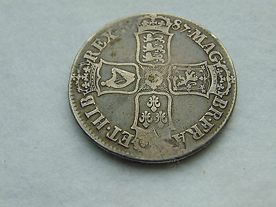 1687 James II early milled silver crown second bust. TERTIO (C503)