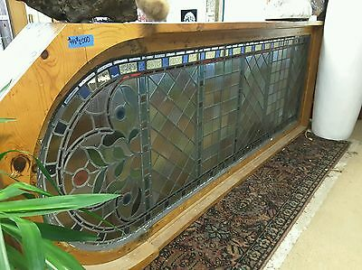 Large Antique Multi-Color Stained Glass Window Pine frame/arch
