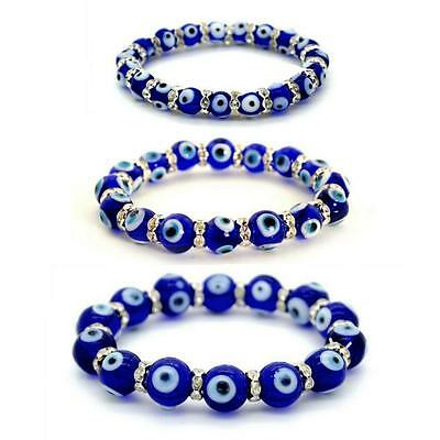 EVIL EYE BEAD BRACELET 8mm 10mm 12mm Glass Blue Stretch Luck Protection Lampwork