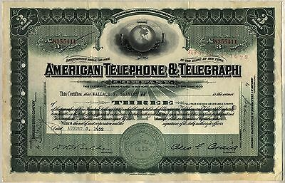 American Telephone & Telegraph Company Stock Certificate AT&T Globe
