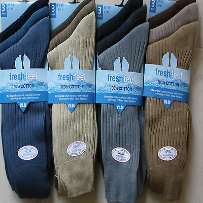 12  pairs  100/% pure cotton mens socks size 6-11  FRESH FEEL  new coloured