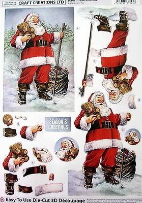 "A4 Die Cut 3D Paper Tole Decoupage ""Father Christmas"" Sheet No Cutting Dcd561"