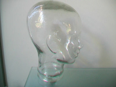New Glass Head Clear Display Mannequin Vintage Hat Wig  Stand