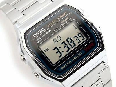 Casio A-158W Retro Digital Unisex Watch Original Factory New Digital A158 Silver