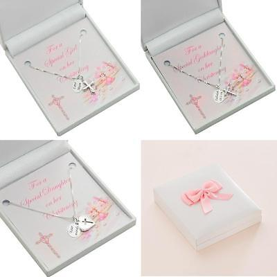 Sterling Silver Christening Necklace with Cross and Personalised Engraving.