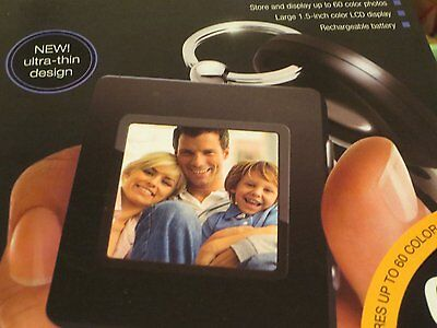 New The Sharper Image USB 2.0 Digital Photo Keychain Black Holds 60 images
