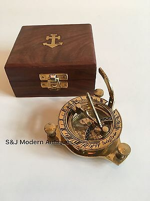 "Sundial Compass Vintage Brass Nautical 4"" Marine Compasses Steampunk Retro Old"