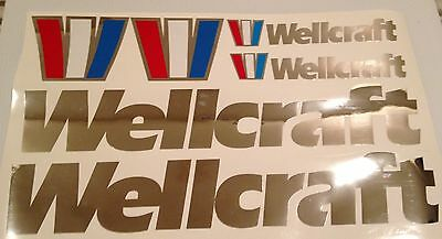8 Wellcraft boat emblem Chrome sticker Marine Vinyl  decals 25 and 10 inch sets