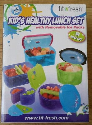 14 pc. Fit Fresh Bpa Free Multi-color Kids Lunch Set Removable Ice Packs 357KFF
