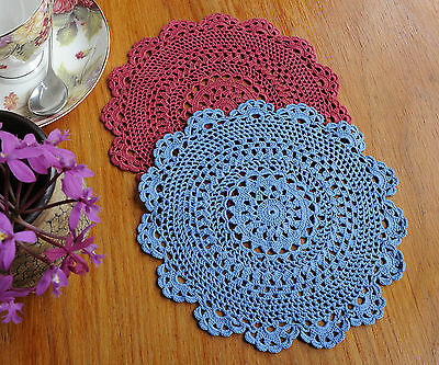 Chic Cotton Fine Yarn Hand Crochet Lace Doily Doilies Round 24CM Blue Burgundy