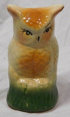 Vtg Yellow Stone Ware Pottery Owl Bird Hand Painted Piggy Money Coin Bank