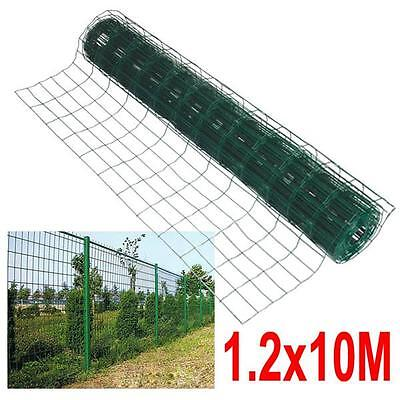 10M x 1.2M Green PVC Coated Steel Mesh Fencing Wire Garden Galvanised Fence