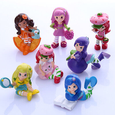 NEW Strawberry Shortcake Lot of 7 PCS Cupcake Cake Toppers PVC Figure Set Toys