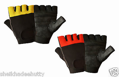 Leather Padded Men's Weight Lifting Training Cycle Wheelchair All Sports Gloves