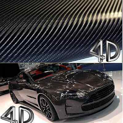 50x152cm BLACK GLOSS 4D Carbon Fibre Vinyl Wrap Car Sticker Sheet Air Drain Hot